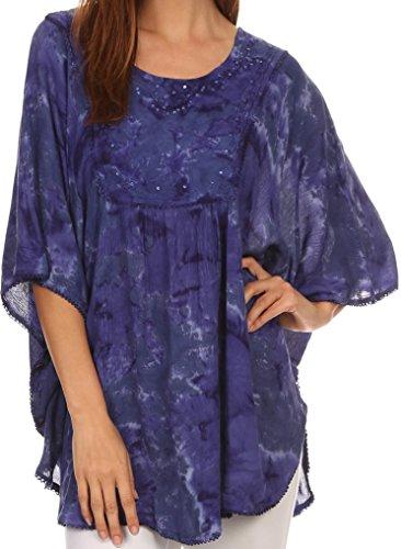 Sakkas 16031 - Cleeo lange, breite Krawatten-Spitze gestickte Sequin Poncho Bluse Top Cover Up - Periwinkle - OS (Kreis-muster-krawatte)