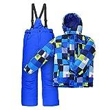 Nickel Kinder Skianzug Skijacke + Skihose Blau Grün Kariert winddicht Größe 116