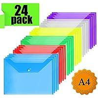 Plastic Wallets Folders - A4 Document Folder Wallet Popper Wallets with Button For School,Office (24Pcs)