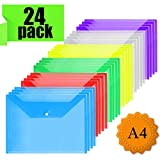 Carpeta Plastico Documentos - A4 Carpeta Plastico Archivadora documentos con botón, plástico archivos para almacenamiento de documentos (24 unidades)