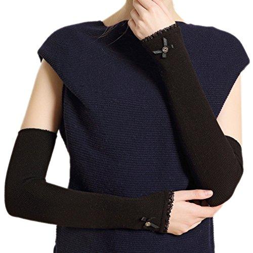 ELE GENS Damen Fingerlos Armwärmer Armstulpen Handschuhe gestrickt Lang Lace Baumwolle Schwarz