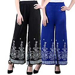 NumBrave Black And Royalblue Viscose Floral Print Palazzo Pants for Women-Pack of 2