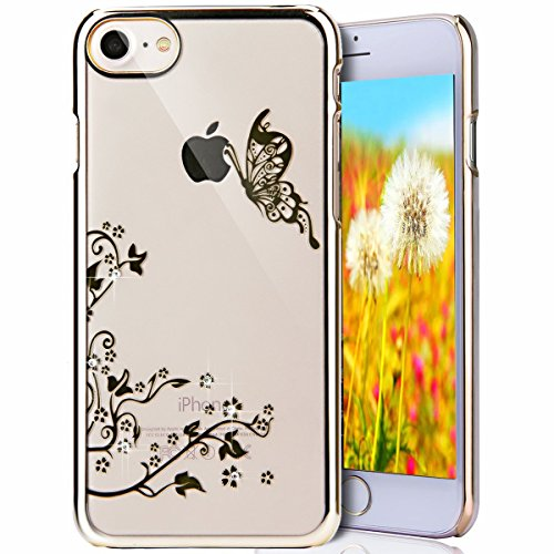 iPhone 7 Plus Clear Coque,iPhone 7 Plus Case Anti chock Dual Layer Plastic Liquide Coque Bling Flash Etui Case Cover pour iPhone 7 Plus 5.5 Pouce,iPhone 7 Plus Transparente Coque,iPhone 7 Plus Bling D K Dandelion Butterfly 4