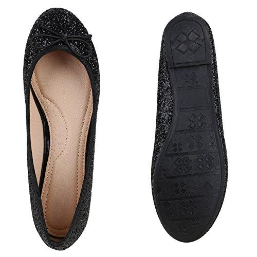 Bequeme Damen Ballerinas Slipper Flats Lederoptik Schuhe Schwarz Glitzer