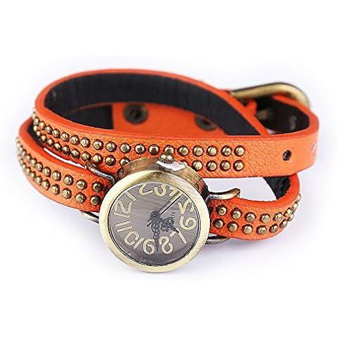 Oro Rivet orologio gioielli bracciale da donna Orologio al Quarzo, Orange - Acciaio Arancione Dial