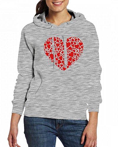 A Thousand Hearts Womens Hoodie Fleece Custom Sweartshirts Grey