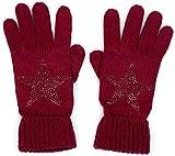 styleBREAKER warme Handschuhe mit Strass Nieten Stern Applikation und doppeltem Bund, Strickhandschuhe, Damen 09010008, Farbe:Bordeaux-Rot