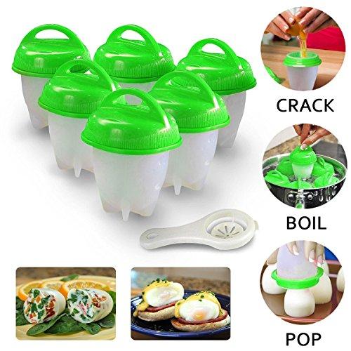 6er Eierkocher Egglettes Egg Cooker, Antihaft-Silikon Eierbecher Hartgekochte Eier ohne Schale (Grün) (Eierkocher-toaster)