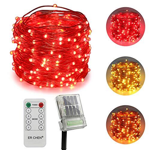 olarbetriebene + batteriebetriebene LED Lichterkette, 66 FT 200 Leds Fernbedienung Farbe ändern 8 Modi Kupfer Draht-Lichterketten für Außen Balkon Garten Terrasse (warmweiß, Rot) ()