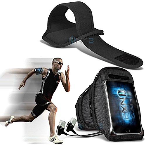 ONX3 LG Volt 3 LS755 Case (Schwarz) Fall-Abdeckung Einstellbare Fitness Laufen Jogging Radfahren Turnhallen-Armbinden Halter mit In-Ear-Ohrhörer aus Aluminium