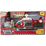 Tonka Town - Rescue Helicopter, playset de acción, color rojo y blanco (HTI VHTI_1415925)