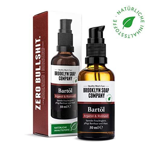 Natürliche Bartpflege: Beard Oil Bartöl (50 ml) ✔ Naturkosmetik der BROOKLYN SOAP COMPANY Geschenkidee als Geschenk für Männer - Bartstyling für 3-Tage-Bart, Vollbart ✔ weicherer Bart, weniger Jucken -