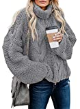 BLENCOT Women Turtleneck Long Sleeve Chunky Cable Knit Slit Tunic Sweater Pullover Outwear, 43750, Grey