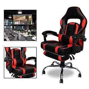 51Zpx7 yqzL. SS300  - HG-Silla-Giratoria-De-Oficina-Gaming-Chair-Apoyabrazos-Acolchados-Premium-Comfort-Silla-Racing-Capacidad-De-Carga-200-Kg-Altura-Ajustable-NegroRojo