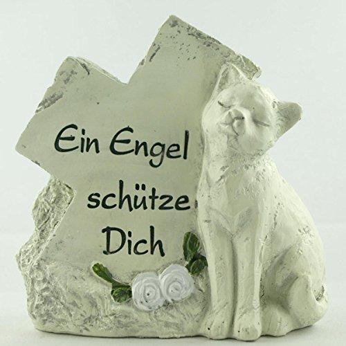Grabschmuck Katze Grabstein als Deko Gedenkstein mit Trauerspruch Ein Engel schütze Dich. Breite 11cm