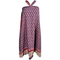 Mogul Interior Womens Skirt Reversible Two Layer Silk Sari Magic Wrap Skirt Dress (Pink-1)