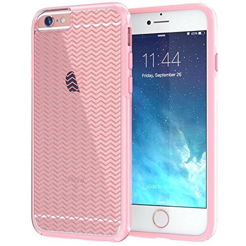 """iPhone 6 6s Case 4.7"""", Hülle True Color® Breite Chevron Waves Gedruckt auf freier transparenter Hybrid -Abdeckung Hard + Soft Slim dünnen haltbaren Schutzschutz aus Gummi TPU Stoßabdeckung - Teal Schmal Pink"""