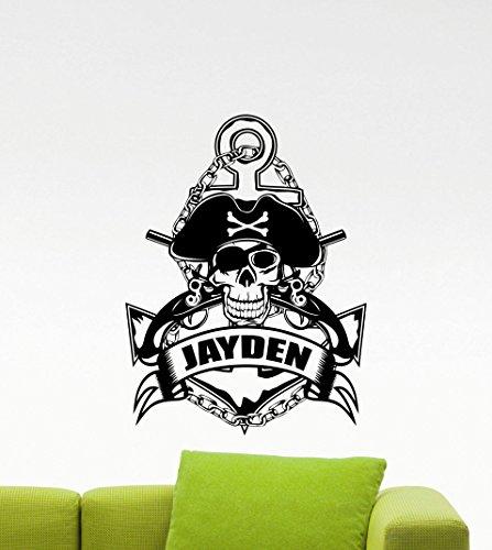Tattoo Nautical Stars (Wandaufkleber,Personalisierte Piraten Anker Wand Vinyl Aufkleber Sea Nautical Custom Name Wandaufkleber Für Jungen Zimmer Baby 42X55 Cm)