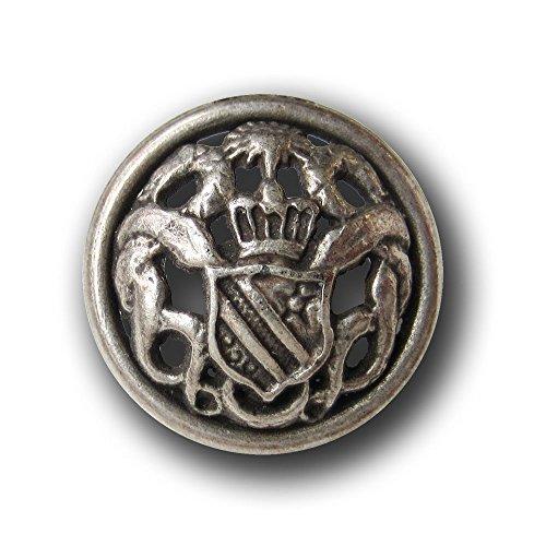 Knopfparadies - 5er Set leicht gewölbte älter wirkende Metall Ösen Knöpfe mit durchbrochenem Wappen Muster / altsilberfarben / Metallknöpfe / Ø ca. 23mm (Alten Keltischen Kostüm)