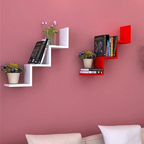 W Forme Etagères murales Bibliothèque Bois salon lounge livres rétro design diverses couleurs au choix (Lot de 2(Blanc+Rouge))