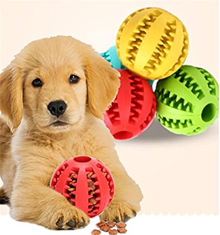Uni Best Dog Toy Ball, Nontoxic Bite Resistant Toy Ball for Pet Dogs Puppy Cat, Dog Food Treat Feeder Tooth Cleaning Ball Pet Exercise Game Ball IQ Training ball (L,
