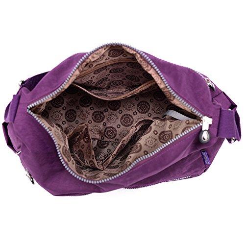 Foino Umhängetasche Leichter Messenger Bag Kuriertasche Lässige Schultertasche Damen Taschen Wasserdicht Reisetasche Mode Sporttasche Lila