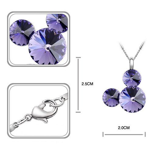 Silver Swarovski Elements Crystal Diamond Accent Pendant Chain Necklace for women teenage girls kids children, with a Gift Box, Ideal Gift for Birthdays / Christmas / Wedding—Amethyst, Model: X19155