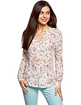 oodji Collection Mujer Blusa de Viscosa Estampada