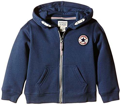 Converse Boys Chuck Patch Core Zip Plain Hoodie, Blue (Navy), Large (Manufacturer Size:12-13 Years)