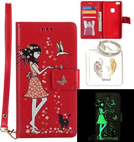 Preisvergleich Produktbild für Huawei P10 Lite PU Fluoreszenz Leder Silikon Schutzhülle Handy case Book Style Portemonnaie Design für Huawei P10 Lite + Schlüsselanhänger ( OUT (2)