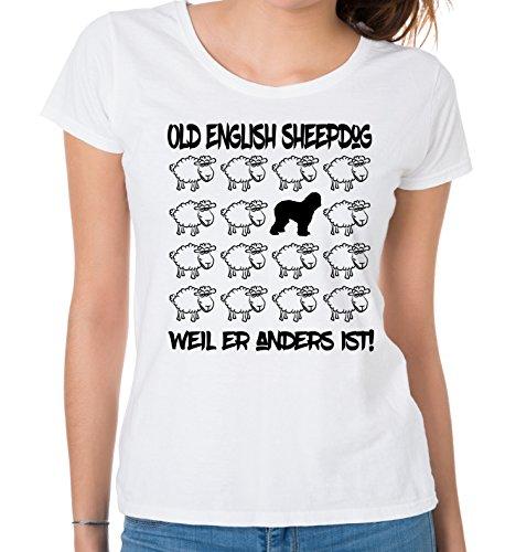Siviwonder WOMEN T-Shirt BLACK SHEEP - OLD ENGLISH SHEEPDOG Bobtail - Hunde Fun Schaf Weiß