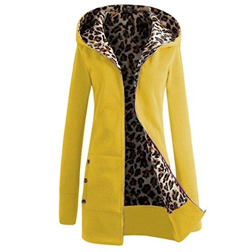 Culater® Le donne più velluto ispessito incappucciato leopardo Zipper cappotto (M, Giallo)