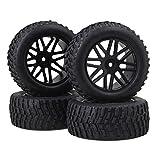 BQLZR 12mm Hex Black Kunststoff 16 Speichen Felge + Bart Muster Gummireifen f¨¹r RC1: 10 Offroad Car Buggy Pack von 4