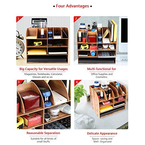 Schreibtischorganizer Holz, Lesfit Tisch Organizer Büro Fernbedienung Box Organisation Aufbewahrungsbox Schreibtisch Kinder (Braun) - 3