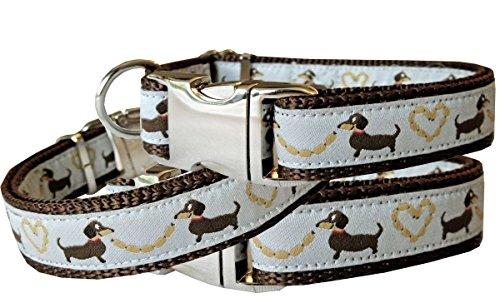 Hundehalsband Dackel Teckel braun Nylon Halsung Band Halsband Schnalle 29 - 44 cm x 2,0 cm -