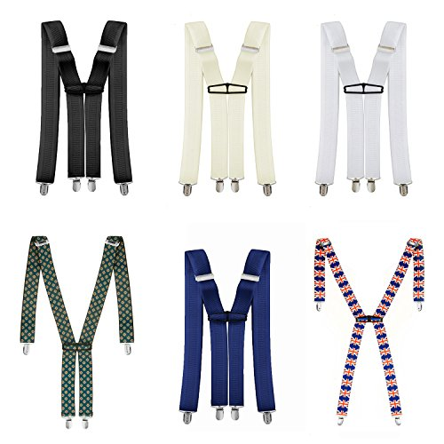 35mm Wide Mens Braces Lycra Spandex - Adults Clip On Suspenders Elastic and Adjustable for Trouser, Jeans and Shorts X-Shaped Back by Trimming Shop
