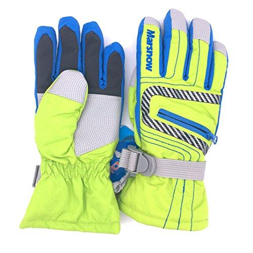 Bwiv Radfahren Ski-Handschuhe Im Freien Sport Winterhandschuhe Wasserdicht für Berufs Skifahren, Bergsteigen Fluoreszierende grün XL