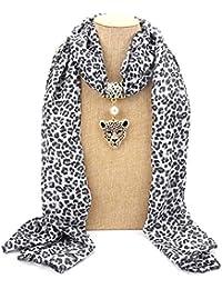 11365acd9cbb Kofun Femmes Foulard, Marque Femmes Longues Mousseline de Soie léopard Dame  Foulard Collier Pendentif Bijoux