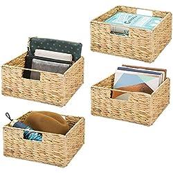 mDesign boîte de rangement pliable (lot de 4) – panier tressé en jacinthe d'eau avec poignées pratiques – panier pour vêtements, jouets, magazines & journaux – couleur nature