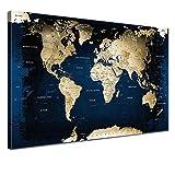 """LanaKK - Weltkarte Leinwandbild mit Korkrückwand Zum pinnen der Reiseziele – """"Weltkarte Midnight"""" - Deutsch - Kunstdruck-Pinnwand Globus in Blau, Einteilig & fertig gerahmt in 150x100cm"""