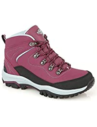 Ladies Leather Lightweight Waterproof Walking Hiking Trekking Comfort Memory Foam Shoes Size 3 4 5 6 7 8