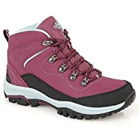 Northwest Territory Ladies Leather Lightweight Waterproof Walking Hiking Trekking Comfort Memory Foam Shoes Size 3 4 5 6…