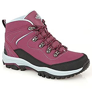 51Zq14c6iHL. SS300  - Northwest Territory Ladies Leather Lightweight Waterproof Walking Hiking Trekking Comfort Memory Foam Shoes Size 3 4 5 6…