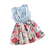 HUIHUI Kleid Mädchen, Toddler Mädchen Kleid Kurzarm Denim Bowknot Party Prinzessin Dress Casual T-shirt Kleid Frühlings Herbst Cocktailkleid Sommerkleider Wedding Kleider (160 (7-8Jahre), Weiß)