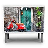 banjado - Badschrank 60x55x35cm Waschtisch Unterschrank weiß höhenverstellbar mit Motiv Italienischer Roller