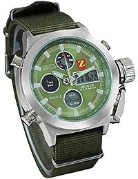 Montre Homme Zeiger W220 Montre Homme Militaire Montre Homme Digital Nylon Montre Sports Deux Fuseau horaire Alarme Chronomètre