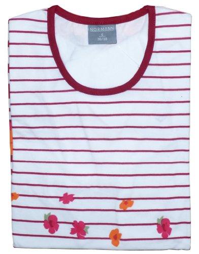 Damen Nachthemd von Normann, 95 cm lang, Rundhals, Streifen, Geblümt Rot