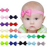 Yistu 17 pcs Bebé niños niñas Bowknot Mini diadema elástica venda