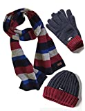 Vedoneire Herren Mütze, Schal & Handschuh-Set Gr. Einheitsgröße, Navy Wool Mix Striped Scarf + Denim/Red Hat and Gloves