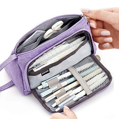 Große Kapazität Federmäppchen Durable School Student Stifthalter Organizer Schreibwaren Make-Up Kosmetiktasche für Mädchen, 20x11cm (Violett)